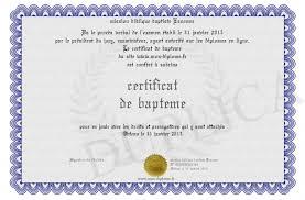 Certificat de baptème